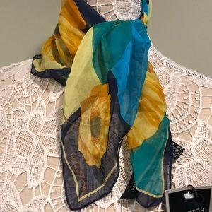 "Vintage 80s Halston Silk Neckerchief ""Poppy"" BNWT"